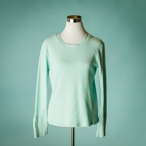 Sundance L Mint Green Thermal Velvet Cuffs Top